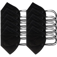 AccuCell 10 Stück FFP2 Maske Schwarz 5-Lagig, zertifiziert nach DIN EN149:2001+A1:2009, partikelfiltrierende Halbmaske, FFP2...