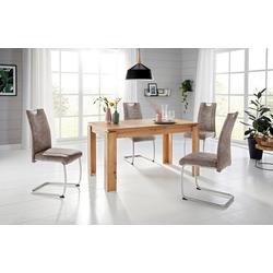 Essgruppe, (Set, 5-tlg), Tisch ausziehbar 140-180 cm braun