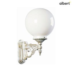 Albert Außenwandleuchte Typ Nr. 0609 mit Kugelschirm Ø 25cm, IP44, E27 QA55 max. 57W, Alu-Guss / Opalglas, Weiß-Gold / Opalglas ALB-670609