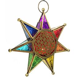 Guru-Shop Windlicht Orientalische Glas Stern in marrokanischem..
