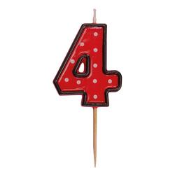 Zahlenkerze, Geburtstagskerze `4` rot, ca. 85 mm
