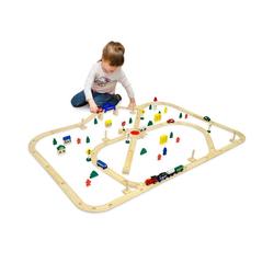 eyepower Spielzeug-Eisenbahn 96-teilige Holzeisenbahn Set Spielzeug-Eisenbahn, 6m Holzbahn Kinder-Bahn Zug bunt