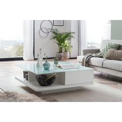 SalesFever Couchtisch, Tischplatte aus gehärtetem Kristallglas weiß