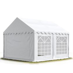 Toolport Partyzelt 3x5m PVC 500 g/m² weiß wasserdicht Gartenzelt, Festzelt, Pavillon