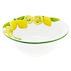 Lashuma Salatschüssel Zitrone, Keramik, italienische Servierschale rund, Obstschüssel handgemacht Ø 20 cm x 7.5 cm