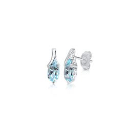 Zeeme Paar Ohrstecker 925/- Sterling Silber Blautopas, Blautopas