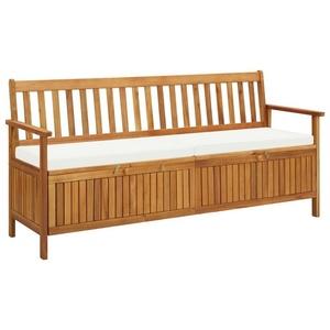 vidaXL Gartenbank vidaXL Sitzbank mit Stauraum und Sitzpolster 170 cm Massivholz Akazie