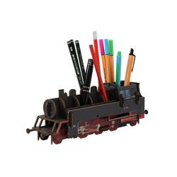 WERKHAUS® Schreibtischaufsatz Werkhaus - Stiftebox Dampflok BR64 Schwarz WE2093 Lok Zug Stifte