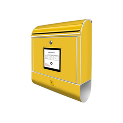 banjado Briefkasten Stahl Briefkasten Gelb, 39x47x14cm 39 cm x 14 cm x 47 cm