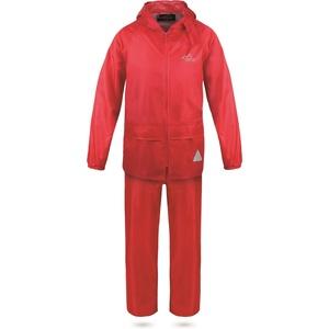 normani Kinder Kids Regenanzug aus Regenjacke mit Kapuze und Regenhose - 100% Wasserdicht + Winddicht absoluter Wetterschutz Farbe Rot Größe XS/110-116
