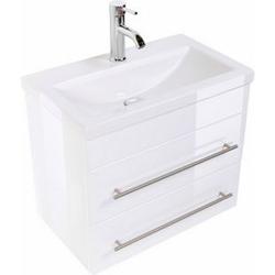 Badmöbel Set Carpo 60 S mit LED Spiegel, weiss hochglanz