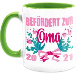 Shirtracer Tasse Befördert zur Oma 2021 mit Blumen - rosa - Tasse für Oma - Tasse zweifarbig, Keramik
