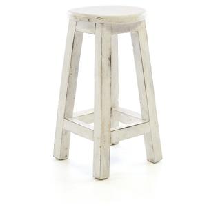 Divero DW61020 Rustikaler Hocker rund massiv Holz Sitzhocker weiß im Vintage-Look Schemel Blumentisch Blumenhocker Landhaus-Stil 50 cm Handarbeit