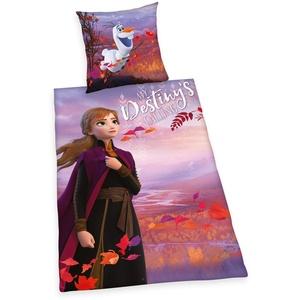 Bettwäsche- Set Disney's Die Eiskönigin 2 Bettwäsche, Kopfkissenbezug ca. 70x90cm, Bettbezug ca. 140x200cm, 100% Baumwolle, Renforcè, mit leichtläufigem Reißverschluss