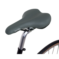 Gusti Leder Fahrradsattel Regina S., Trekkingrad Ledersattel Fahrrad Vintage-Sattel Retro-Sattel Damen Herren grau