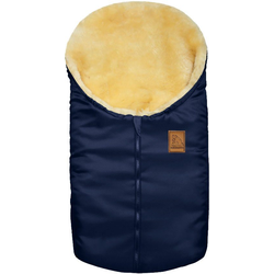 Heitmann Felle Fußsack Eisbärchen - Kleiner Winter-Lammfellfußsack, Baby-Fußsack, mit echtem Lammfell, für Tragschalen, Kinderwagen, Autositze und Fahrradanhänger blau