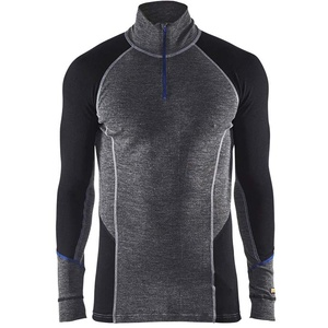 Blaklader 4899173296995XL Warm Zippkragen-Unterhemd, 100% Merino, Mittelgrau/Schwarz, Größe 5XL