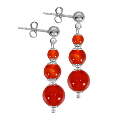 Adelia´s Paar Ohrhänger Karneol Ohrstecker Ohrringe 925 Silber