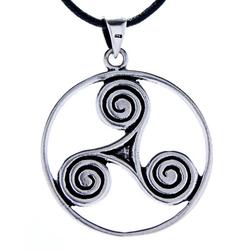 Kiss of Leather Kettenanhänger Triskelen Triskel Triskele Spirale, 925 Silber (Sterlingsilber)