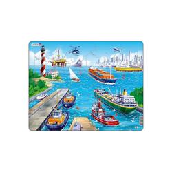 Larsen Puzzle Rahmen-Puzzle, 35 Teile, 36x28 cm, Hafen, Puzzleteile