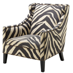 Casa Padrino Sessel im Zebra Design 74 x 81 x H. 89 cm - Luxus Wohnzimmer Sessel