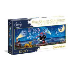 Clementoni® Puzzle 39449 Mickey und Minnie 1000 Teile Panorama Puzzle, 1000 Puzzleteile bunt