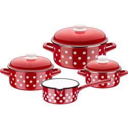 GSW Topf-Set, Stahl-Emaille, (Set, 7 tlg.), Induktion rot Topfsets Töpfe Haushaltswaren Topf-Set