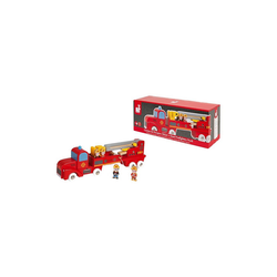 Janod Spielzeug-Auto Story Feuerwehrauto Holz mit 4 Holzfiguren