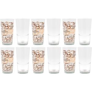 12er Set Mix Latte Macchiato Glas 39cl stapelbar mit Dekor/ohne Dekor