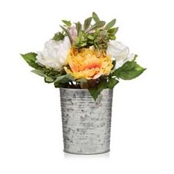 ABELLA Flora Blumenstrauß künstlich Design-Blechtopf Höhe ca. 36cm