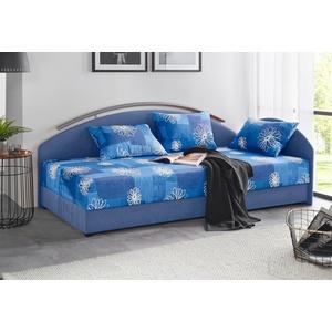 Maintal Polsterliege, mit Bettkasten blau 86 cm x 206 cm
