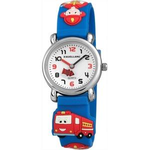 """Excellanc 4500017-002 Kinderuhr """"Feuerwehr"""" - blaues Silikonband -..."""