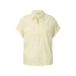 TOM TAILOR DENIM Damen Gestreiftes Blusenshirt im Boxy-Fit, gelb, Gr.XL