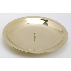 Taufkerzenhalter mit Dorn, Dekoteller Messing poliert gold für Taufkerzen Ø 16 cm