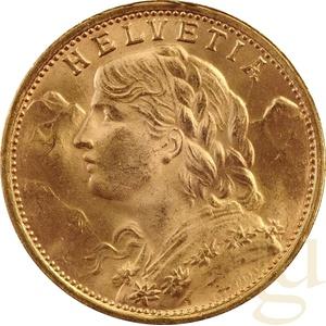 20 schweizer Franken Goldmünze Vreneli