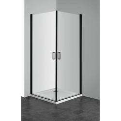 WELLTIME Eckdusche Florenz Black, Duschkabine, Eckeinstieg 90 x 90 cm schwarz ohne Antikalk-Versiegelung