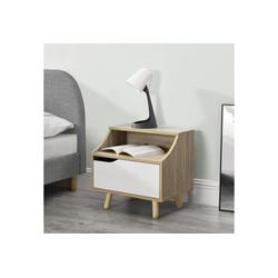 en.casa Nachttisch, Stylischer Beistelltisch Foxhill mit Schublade - 46,5 x 35 x 45cm - Holzfarben / Weiß