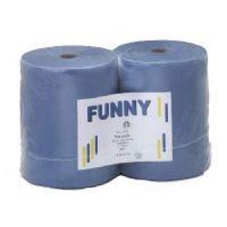 Papierputztuch auf Rolle, 26x38 cm, 3-lagig, blau, 1 Paket = 2 Rollen à 500 Abr. à 38 cm = 190 Meter, ½ Palette = 24 Pakete