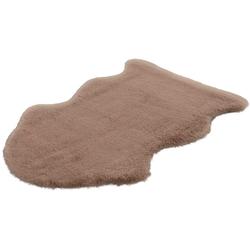 Hochflor-Teppich Cosy Fell 500, LALEE, fellförmig, Höhe 27 mm, Fellform, Wohnzimmer braun 85 cm x 130 cm x 27 mm