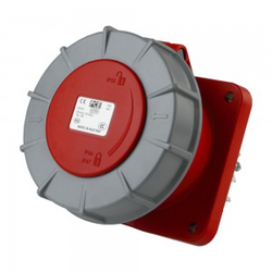 Anbausteckdose 63A 5P Einbausteckdose gerade 6h 400V IP66 Anbaudose rot grau Twist Typ335 PCE 0182