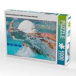 Schwimmwettbewerb im Delfin-Schwimmen (Butterfly) Lege-Größe 64 x 48 cm Foto-Puzzle Puzzle