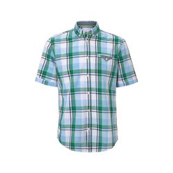TOM TAILOR Herren Kariertes Kurzarmhemd mit Brusttasche, grün, kariert, Gr.M