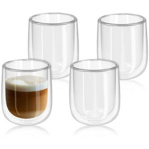 Navaris Gläser-Set, 4x doppelwandige Gläser 350ml - Thermogläser für Cappuccino Latte Macchiato Tee Wasser Cola Cocktails - 4er Set Kaffeegläser Borosilikat