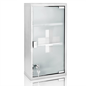 Medizinschrank XXL Hausapotheke abschließbar 2 Schlüssel Edelstahl 48,5x25x12cm Medikamentenschrank Erste Hilfe Schrank ...