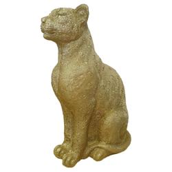 Goldener Leopard - Goldene Katze 18x12x28cm - Gold Deko Dekofigur Cat
