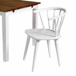 Holzstuhl in Weiß mit halbrunder Lehne (2er Set)