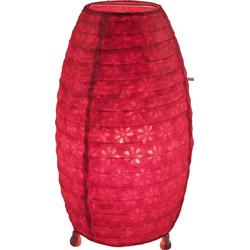 Guru-Shop Tischleuchte Corona Lokta Papier Tischlampe 30 cm rot