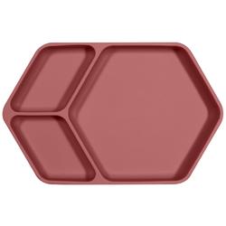 Kindsgut Kindergeschirr-Set Teller eckig (1-tlg), Silikon, Saug-Geschirr aus Silikon, guter Halt und rutschfest dank Saugnapf, frei von BPA und FDA-konform, Altrosa rosa