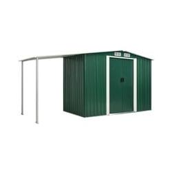 Gerätehaus mit Schiebetüren Grün 386×131×178 cm Stahl