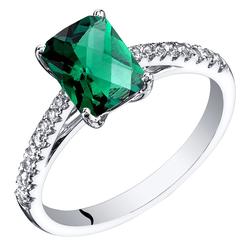 Goldener Verlobungsring mit Smaragd und weißen Topasen Dacre